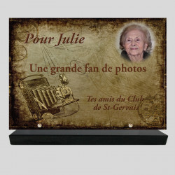 Plaque funéraire Rectangle personnalisée - Appareil photo - sur socle en granit