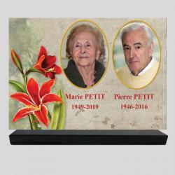 Plaque funéraire personnalisée 2 photos - Amaryllis - sur socle en granit