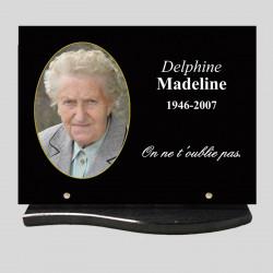 Rectangle - 40x30cm - Plaque funéraire personnalisée  avec médaillon - sur socle arrondi