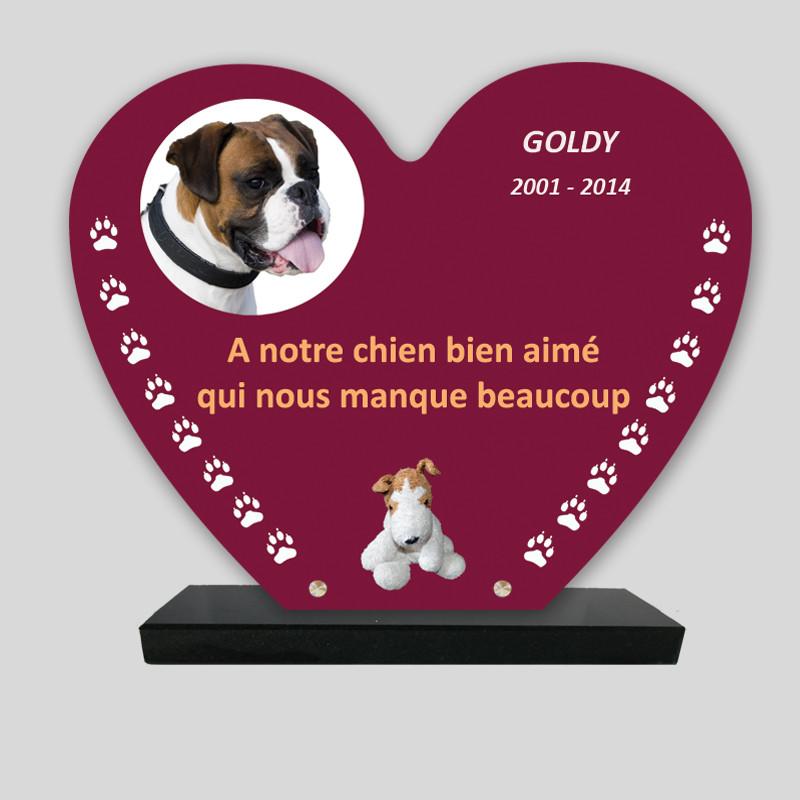 Plaque souvenir personnalisée animaux - Cœur rouge pattes blanches - sur socle en granit