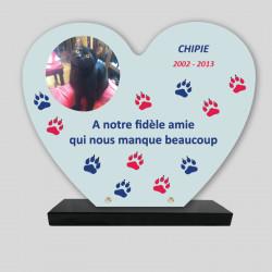Plaque souvenir personnalisée animaux - Cœur bleu pattes rouges et bleues - sur socle en granit