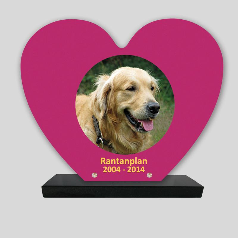 Plaque souvenir personnalisée animaux - Cœur Fuchsia - sur socle en granit