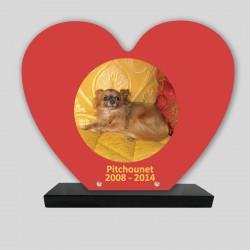 Plaque souvenir personnalisée animaux - Cœur Oranges - sur socle en granit
