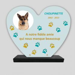 Plaque souvenir personnalisée animaux - Cœur bleu avec pattes bleues et jaunes - sur socle en granit