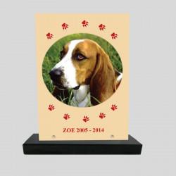 Plaque souvenir personnalisée animaux - rectangle jaune et pattes rouges - sur socle en granit