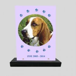 Plaque souvenir personnalisée animaux - Rectangle mauve pâle et pattes bleues - sur socle en granit