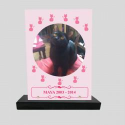 Plaque souvenir personnalisée animaux - Rectangle rose avec chats roses dessiné - sur socle en granit