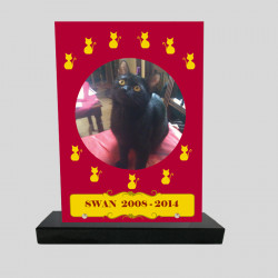Plaque souvenir personnalisée animaux - Rectangle rouge avec petits chats jaunes - sur socle en granit