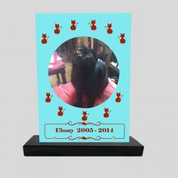 Plaque souvenir personnalisée animaux - Rectangle turquoise avec chat rouge - sur socle en granit