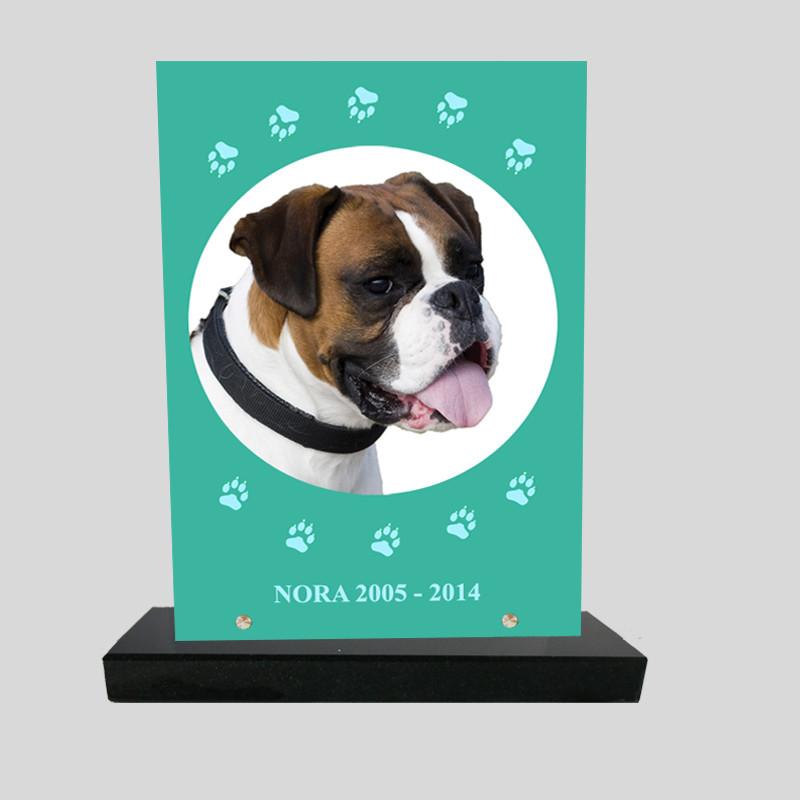 Plaque souvenir personnalisée animaux - Rectangle vert avec pattes bleu clair - sur socle en granit