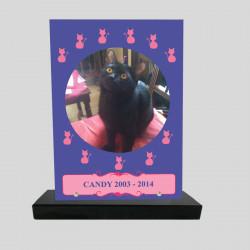 Plaque souvenir personnalisée animaux - Rectangle violet avec chats roses dessiné - sur socle en granit
