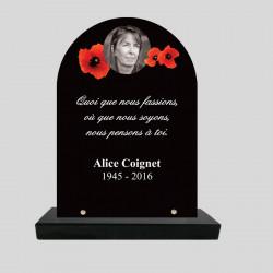 Plaque funéraire personnalisée stèle- Coquelicots rouges sur noir - sur socle ne granit
