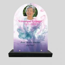 Plaque funéraire personnalisée stèle - Décor fumée de couleurs - sur socle en granit
