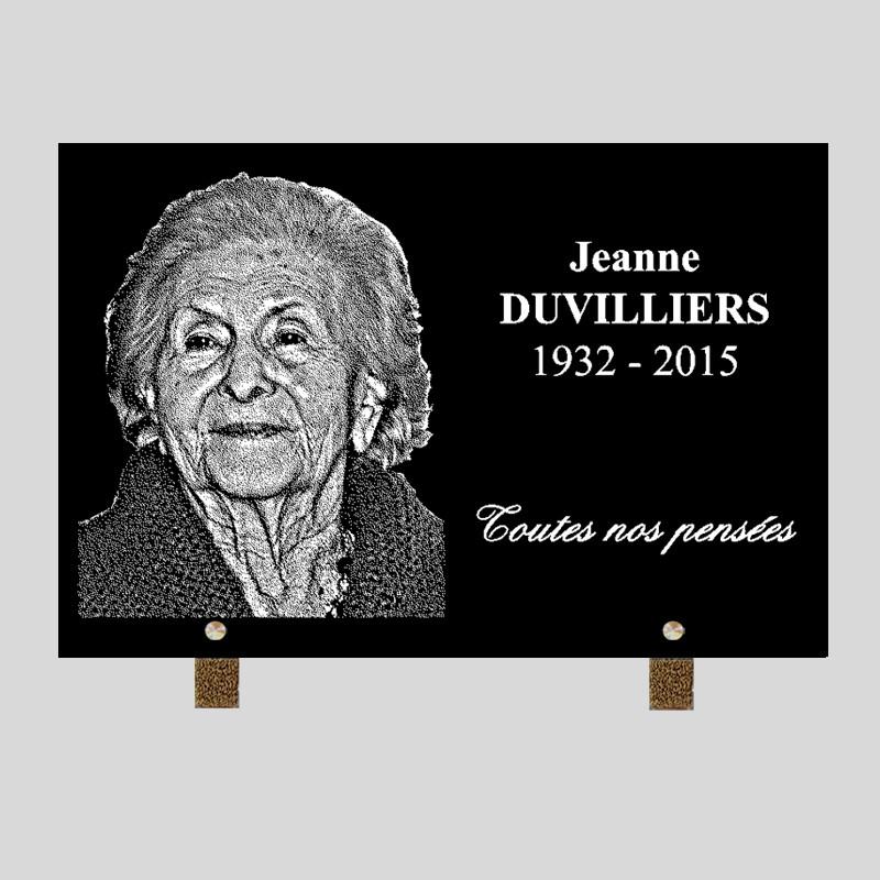 Portrait gravé - 30x20 Plaque funéraire personnalisée rectangle - sur pied en métal