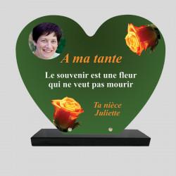 Plaque funéraire Cœur personnalisée - Décor roses sur fond vert foncé - sur socle en granit