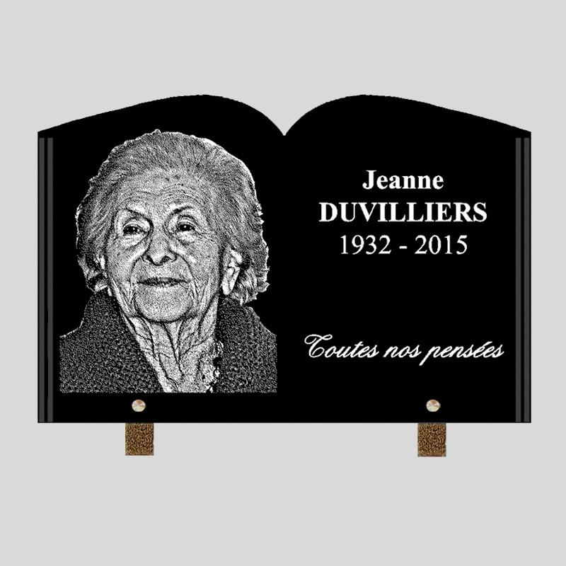 Portrait gravé - 30x20 - Plaque funéraire personnalisée livre - sur pied en métal