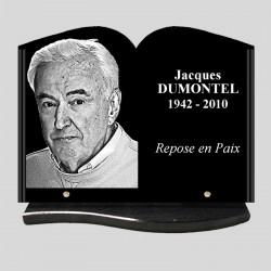 Portrait gravé - 40x30 - Plaque funéraire personnalisée livre - sur socle arrondi