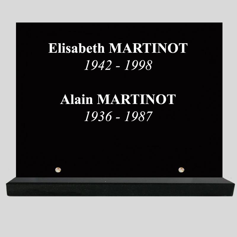 Rectangle - 40x30cm - Plaque funéraire personnalisée simple - sur socle en granit