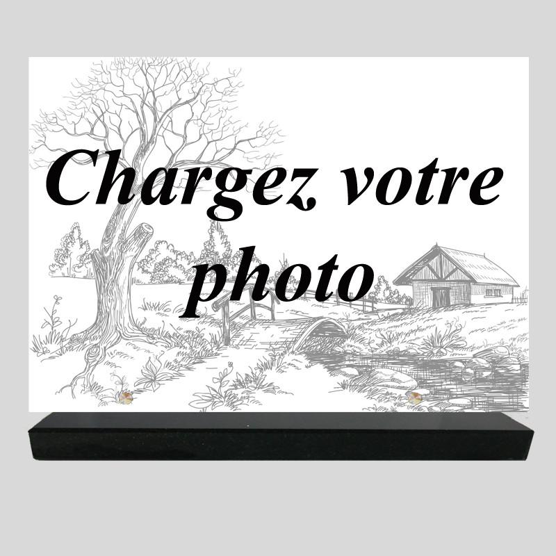 Plaque funéraire personnalisée Rectangle- Grande photo personnelle - sur socle en granit