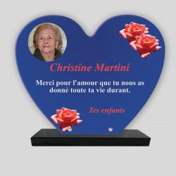 Plaque funéraire Cœur  personnalisée - Roses rouges sur fond bleu - sur socle en granit