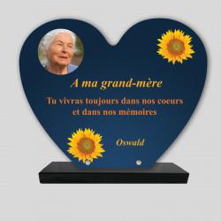Plaque funéraire Cœur  personnalisée - Décor tournesols sur fond bleu - sur socle en granit