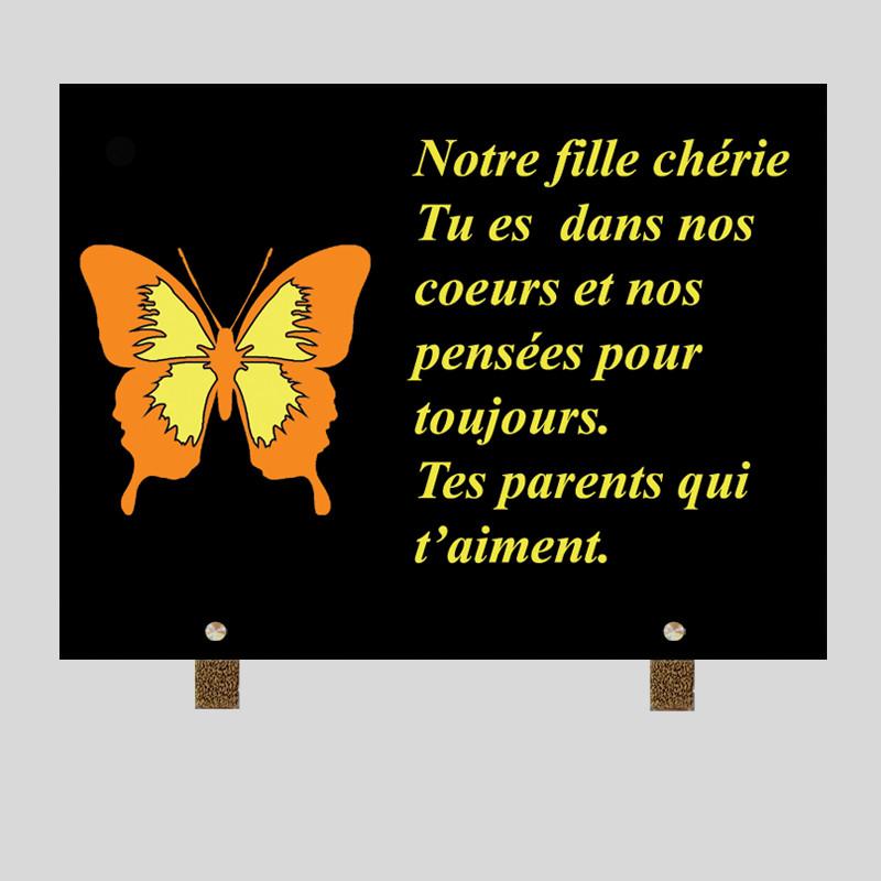 Peinte à la main - Plaque funéraire personnalisée papillon jaune - sur pied métal