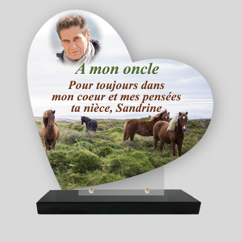 Plaque funéraire Cœur personnalisée - Décor Chevaux avec photo - sur socle en granit