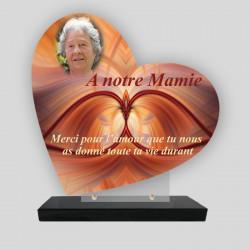 Plaque funéraire Cœur personnalisée - Décor graphique orange avec photo - sur socle en granit