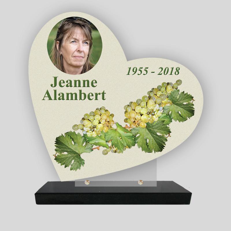 Plaque funéraire Cœur personnalisée - Décor grappe de raisin  avec phot - sur socle en granit