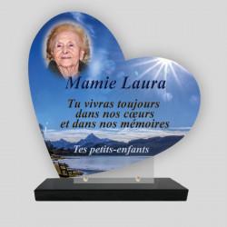 Plaque funéraire Cœur personnalisée - Décor Lac de montagne avec phot - sur socle en granit