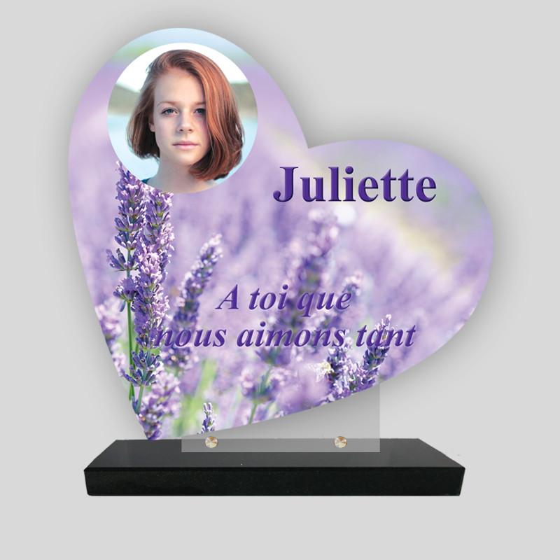 Plaque funéraire Cœur personnalisée - Décor  de Lavande avec photo - sur socle en granit