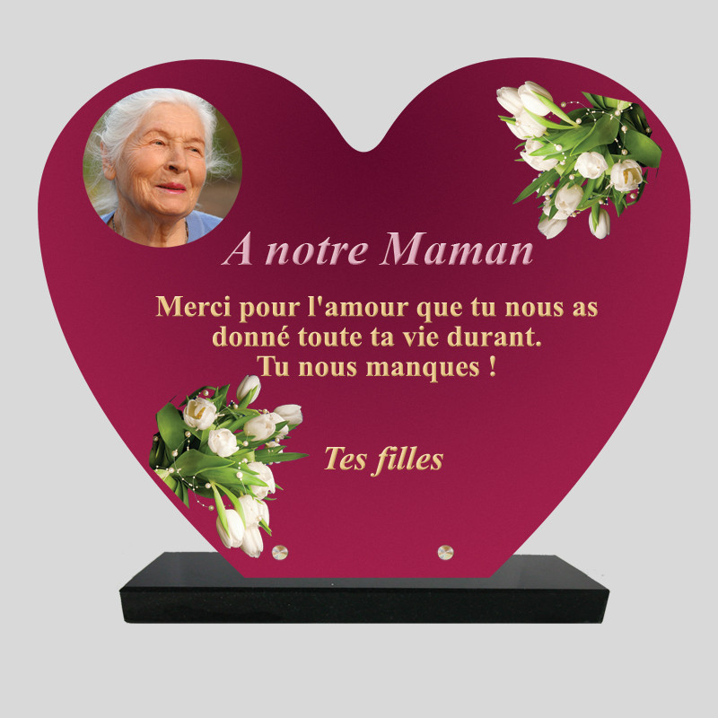 Plaque funéraire Cœur  personnalisée - Décor Fleurs blanches sur fond rose - sur socle en granit