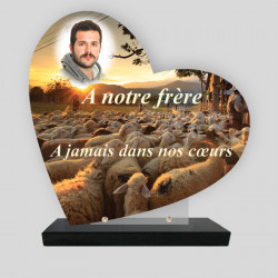 Plaque funéraire Cœur personnalisée - Décor  de troupeaux de mouton avec photo - sur socle en granit