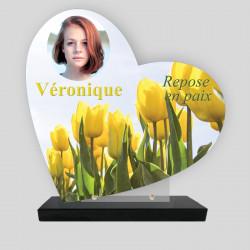 Plaque funéraire Cœur personnalisée - Décor  de Tulipes jaunes avec photo - sur socle en granit