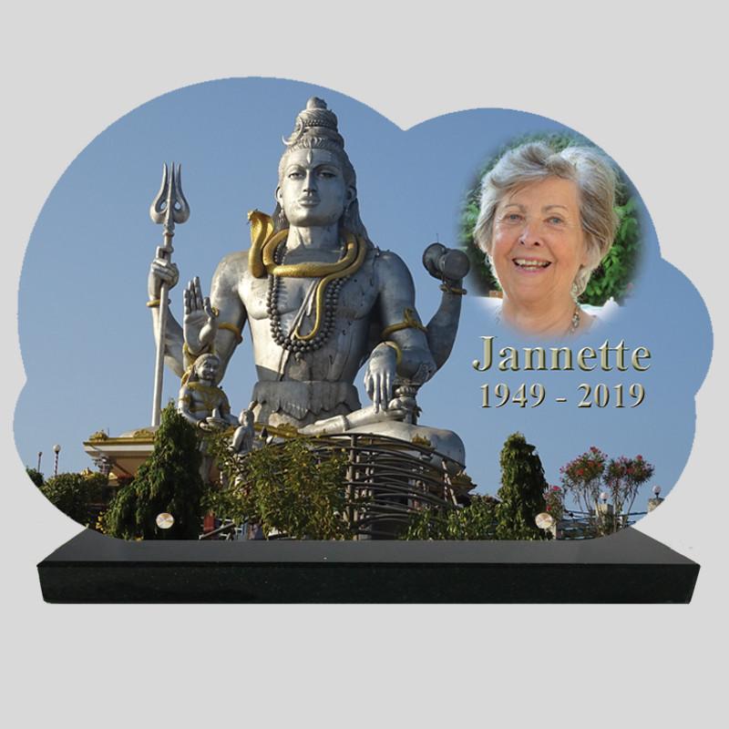 Plaque Funéraire personnalisée Nuage - Shiva avec photo - texte sur socle granit