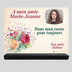 Plaque funéraire Rectangle personnalisée - Bouquet de fleurs dessinées - sur socle en granit