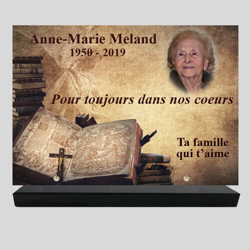 Plaque funéraire Rectangle - Livre crucifix- avec photo -  texte- sur socle en granit