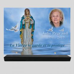 Plaque funéraire Rectangle - Vierge sur la mère - avec texte et photo - sur socle en granit