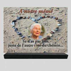 Plaque funéraire Rectangle personnalisée  - Cailloux sur le sable - sur socle en granit