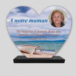 Plaque funéraire Cœur personnalisée - Une barque sur le sable - sur socle en granit
