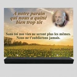 Plaque funéraire Rectangle personnalisée - Champs de colza - sur socle en granit