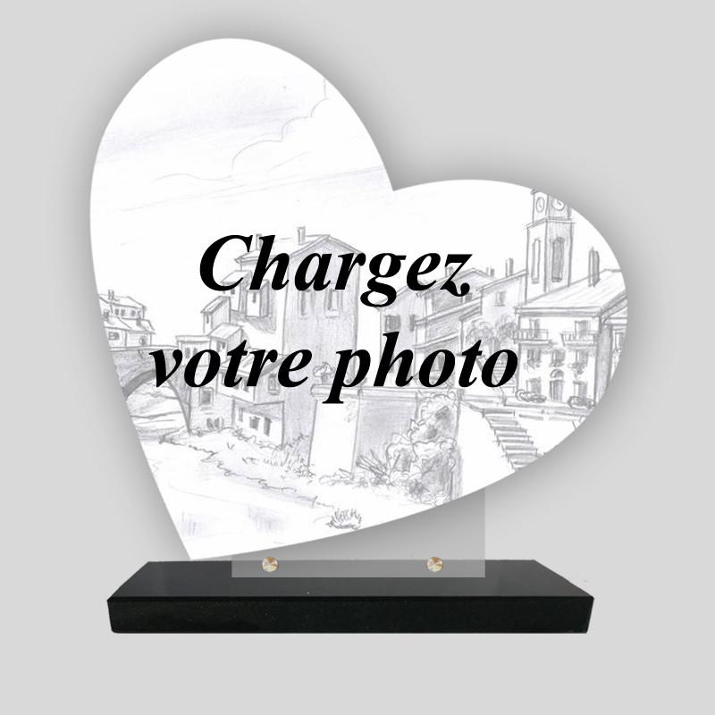 Plaque funéraire Cœur personnalisée - grande photo personnelle - sur socle en granit