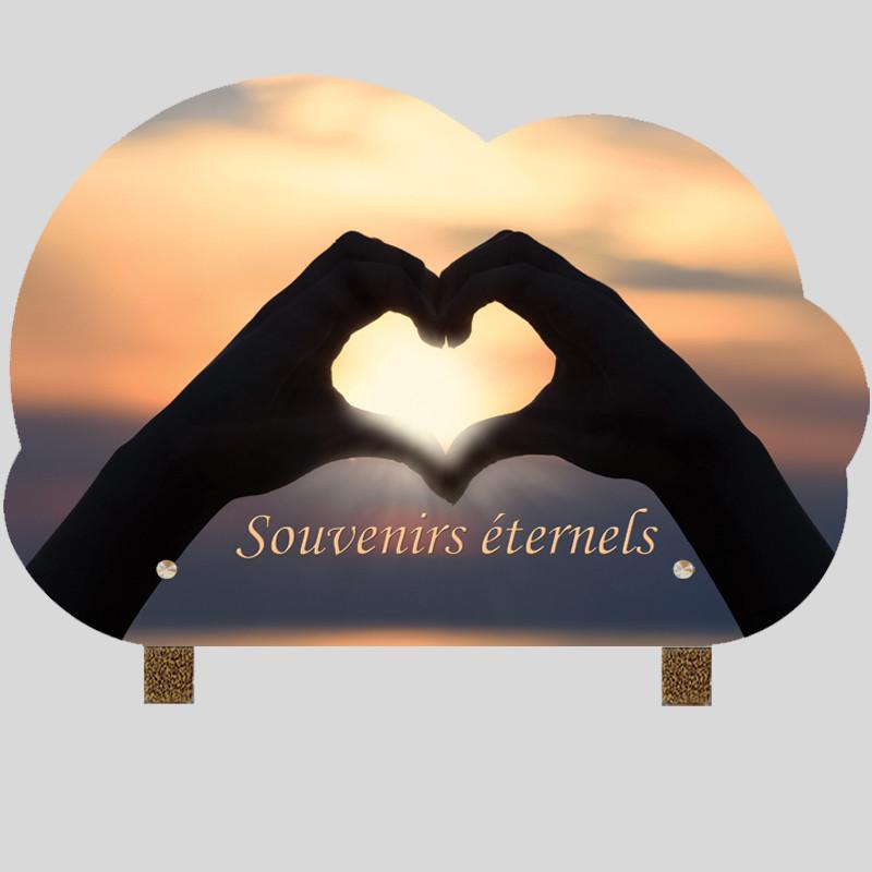 Plaque funéraire nuage - Main en coeur - Sur pieds métal