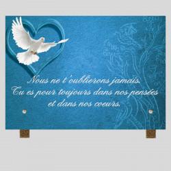 Plaque funéraire rectangle - Coeur colombe bleue - Sur pieds métal