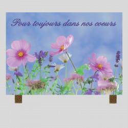 Plaque funéraire rectangle - Fleurs de Champs - sur pieds métal