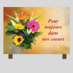 Plaque funéraire rectangle -Bouquets fleurs jaune et rose - avec pieds métal