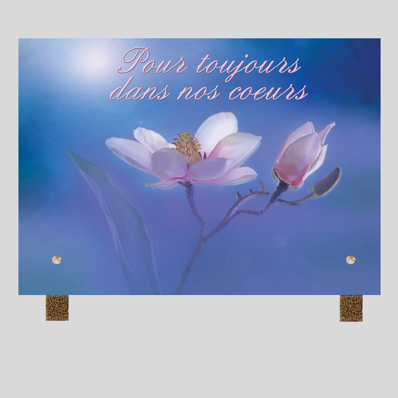 Plaque funéraire rectangle - Fleurs roses sur fond bleu - avec pieds métal
