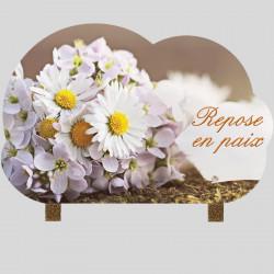 Plaque funéraire nuage - Fleurs de marguerite - avec pieds métal
