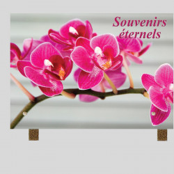 Plaque funéraire Rectangle - Fleur d' Orchidée - sur pieds métal