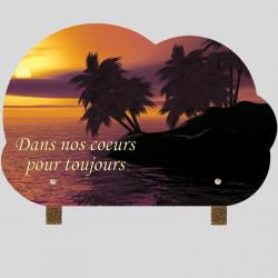 Plaque funéraire Nuage - Palmier coucher de soleil - sur pieds métal